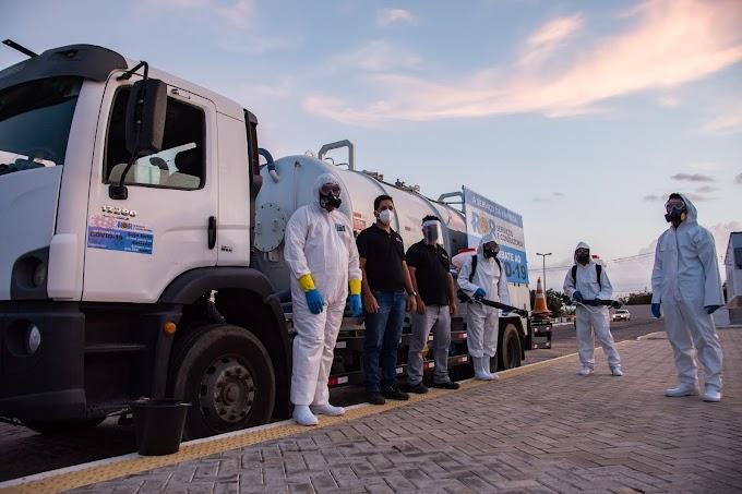 LAJES inicia serviços de desinfecção e sanitização de avenidas, ruas, praças e prédios públicos