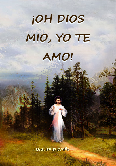 dios mio te amo frase en foto de jesus divina misericordia