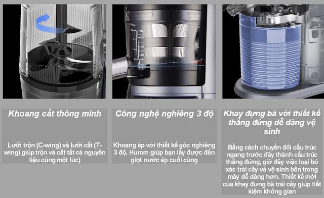 Máy ép chậm - HUROM WONDER H-AI, Khoang cắt thông minh, Công nghệ nghiêng 3 độ, Khay đựng bã với thiết kế thẳng đứng dễ dàng vệ sinh - lgvietnam.top