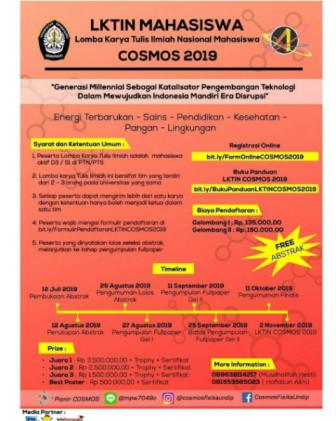 Lomba Karya Tulis Ilmiah Nasional Cosmos 2019 UNDIP