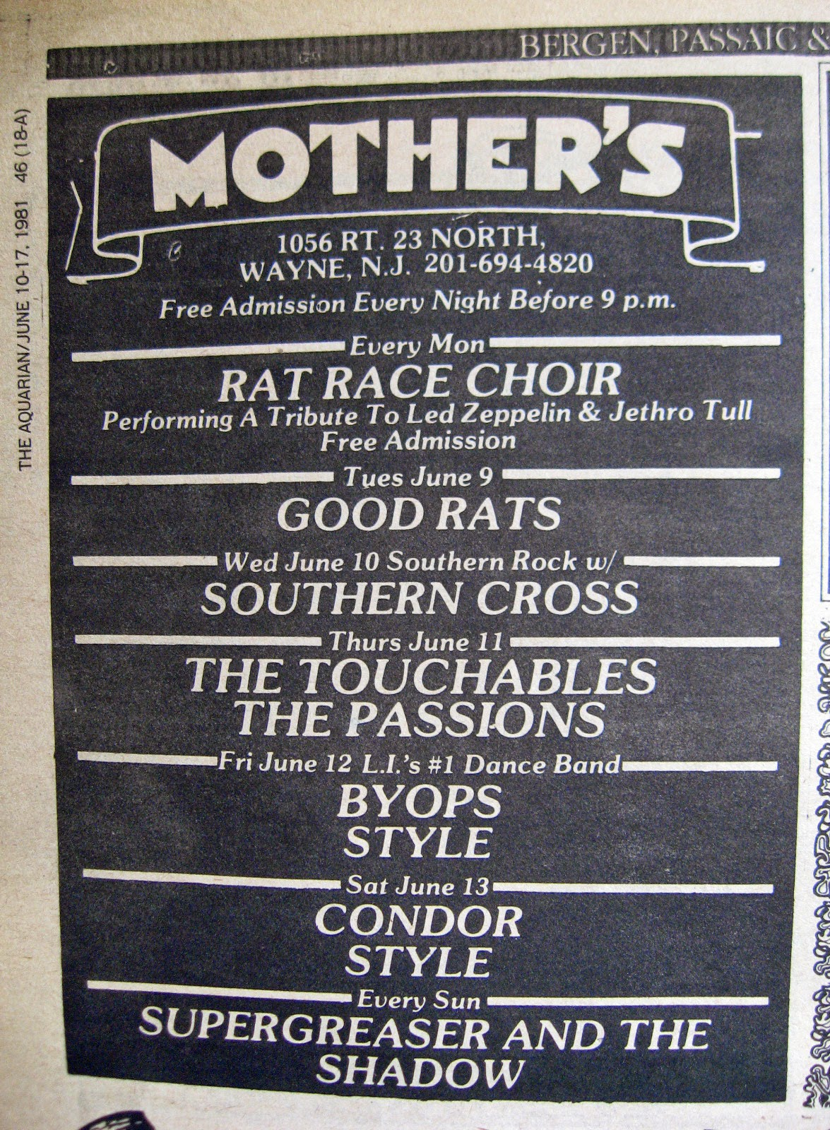 Mother's band line up June 1981