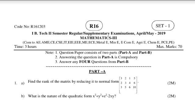 jntuk 1-2 b-tech r16 mathematics-3 model question papers agriculture engineering april-may 2019