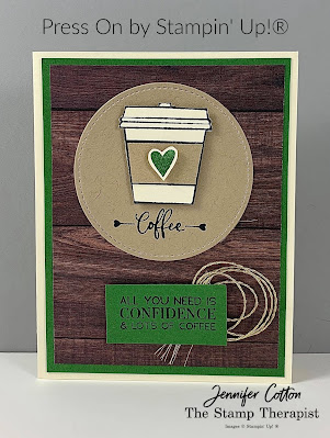 This card uses Stampin' Up!®'s Press On stamp set, Stitched Shapes dies, and Forever Greenery Ribbon Combo!  Check out the blog for a video and supply list!  #StampTherapist #Stampinup