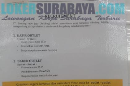 Lowongan Kerja Surabaya Terbaru di PT. Bintang Indo Jaya (Rotiboy) Mei 2019