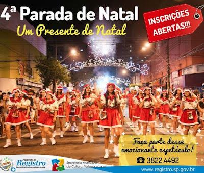 Prefeitura de Registro-SP recebe inscrições de  interessados em participar da Parada de Natal 2018