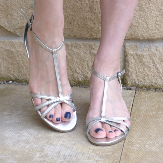 Boden low silver wedge sandals