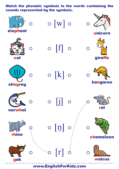 Phonics worksheet - matching consonant sounds to IPA symbol