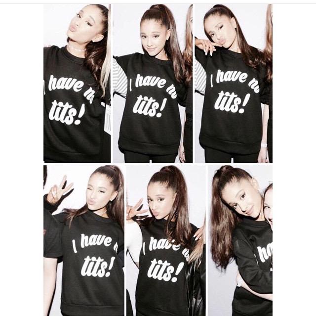 "Ariana Grande ""I HAVE NO TITS"" sweater. PYGear.com"