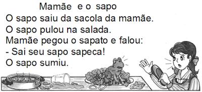 Texto para ler e interpretar MAMÃE E O SAPO