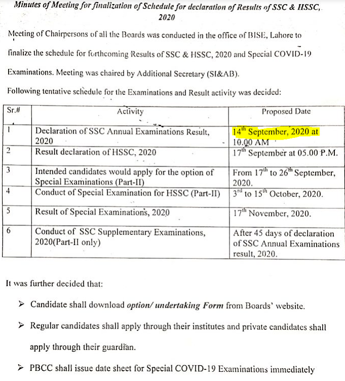 BISE LAHORE BOARD MATRIC 10TH CLASS RESULT 2020