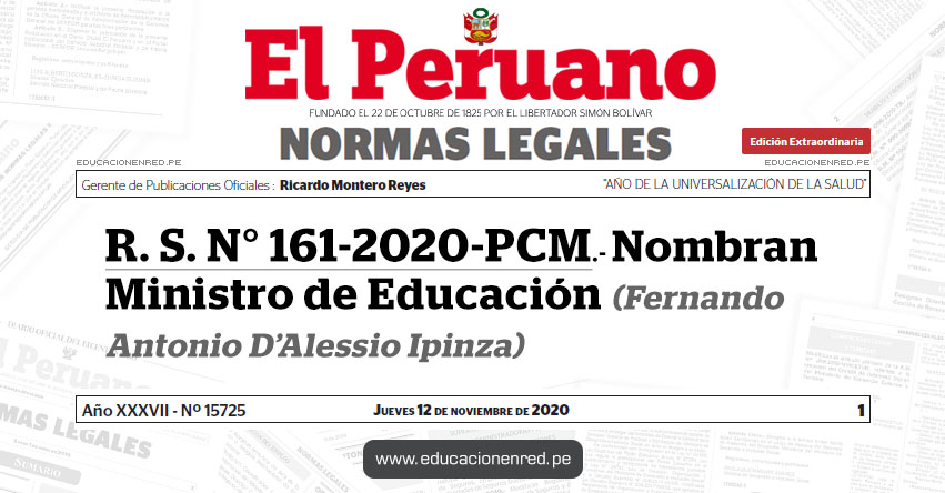 R. S. N° 161-2020-PCM.- Nombran Ministro de Educación (Fernando Antonio D'Alessio Ipinza) MINEDU