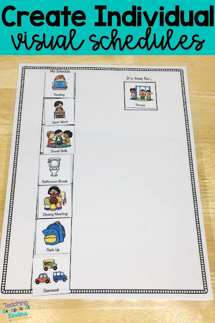 Use visual supports like visual schedules to help your kindergarten students to be independent in the classroom