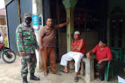 Babinsa Anjangsana Dan Sosialisasikan Protokol Kesehatan 4M Di Desa Binaan