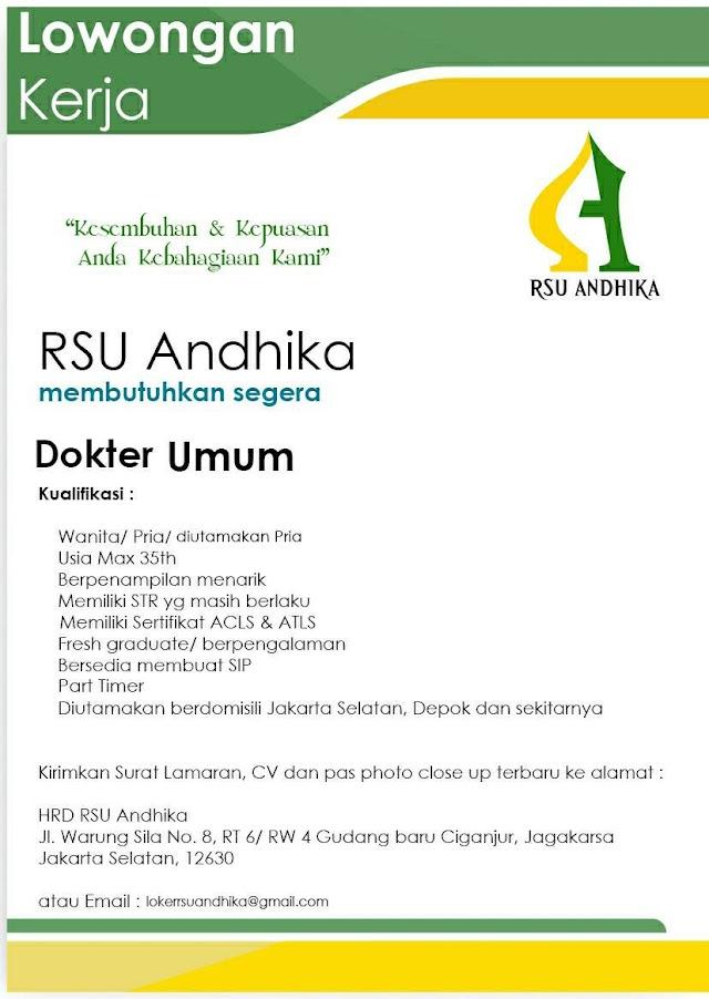 Loker Dokter RSU Andhika Jakarta Selatan