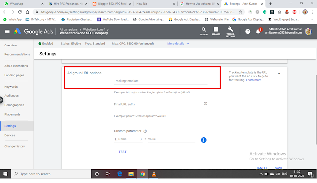 Track Advance URL option at Ad Group Level