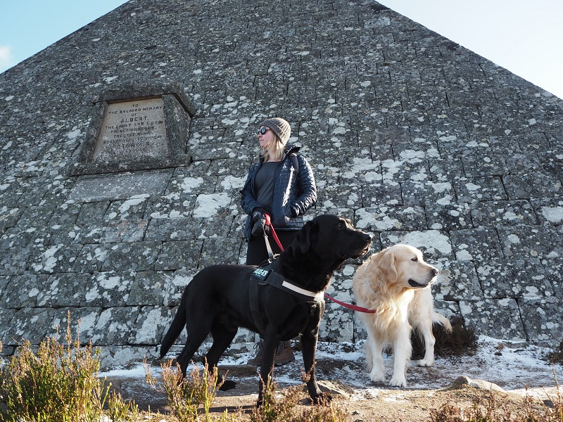 Me and the dogs being dwarfed by the pyramid on the Balmoral estate
