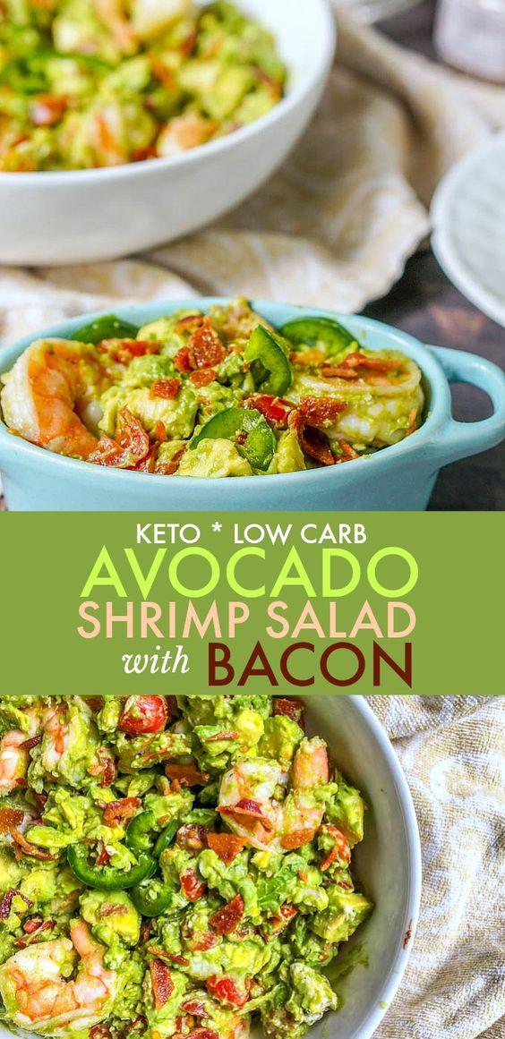 Keto Avocado Shrimp Salad with Bacon (low carb)