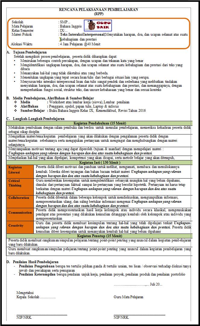 rpp 1 lembar bahasa inggris kelas 9 revisi 2020