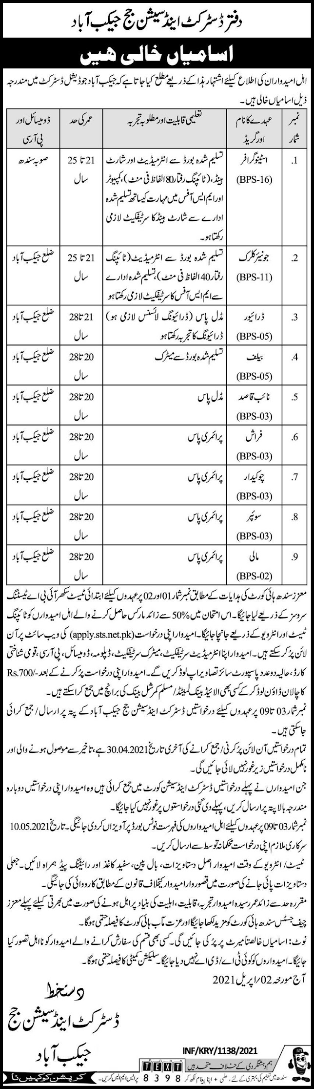 District-Session-Court-Jobs-vacancies-Jacobabad-2021