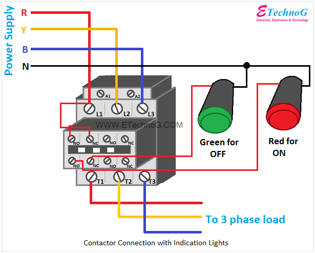 Contactor connection with indication lights