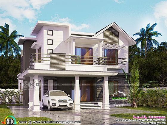 240 sq-m 4 BHK mixed roof modern home