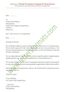 thank you letter to supplier for their support