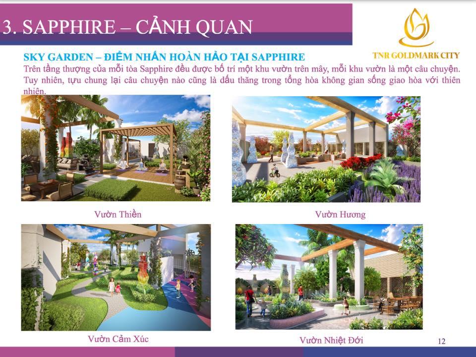 Phối cảnh 4 khu vườn trên tầng thượng 4 tòa Sapphire