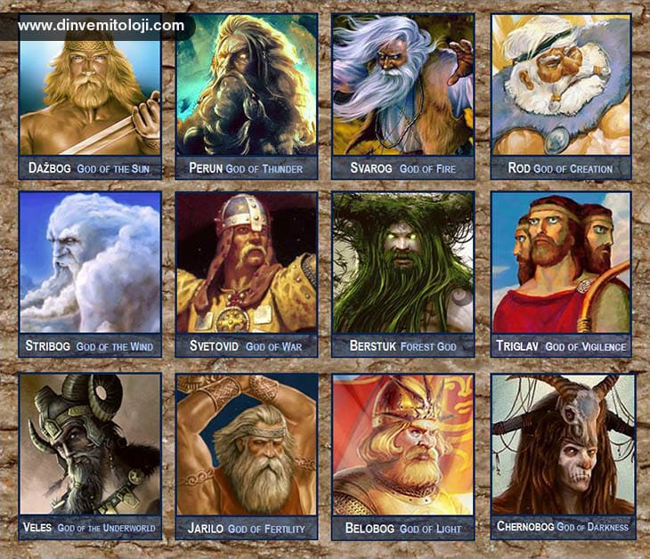 A, mitoloji, İskandinav mitolojisi, İskandinav tanrıları, Slav mitolojisi, Slav tanrıları, Dazbog, Perun, Svarog, Rod, Stribog, Belobog, Chernobog, Veles, Stevoid, Berstuk, Triglav,