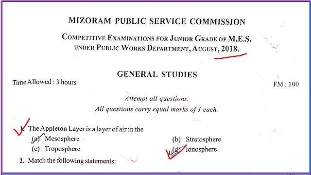 AE/SDO (Jr. Grade of MES) 2018 under Mizoram PWD - General Studies Paper 100 MCQ/Objective Solved