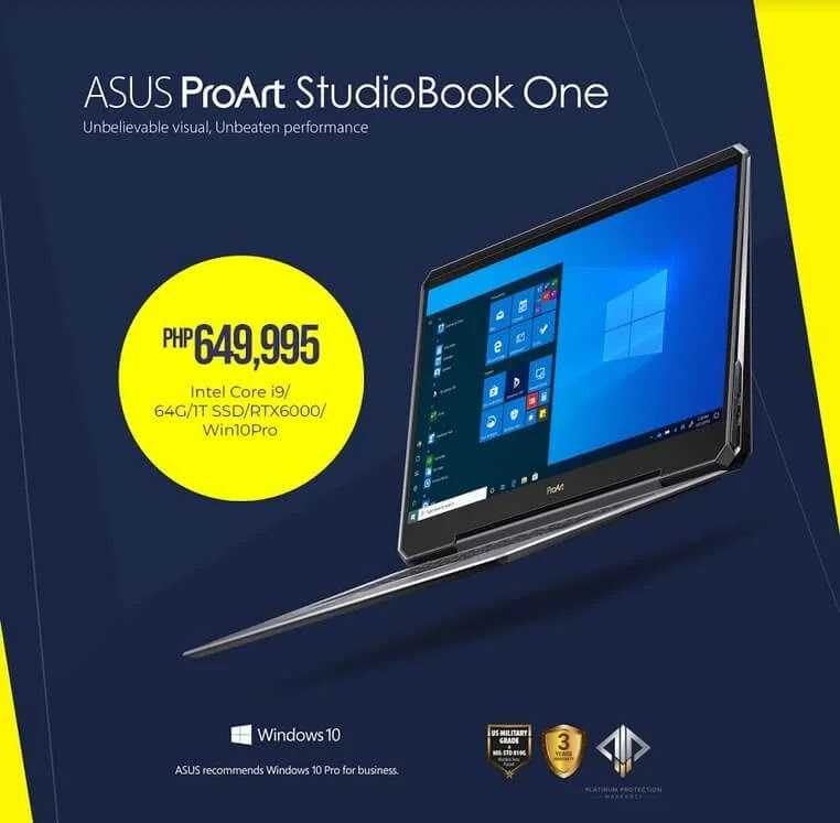 ASUS Launches ProArt StudioBook Series for Content Creators; Priced Up To Php649,995!