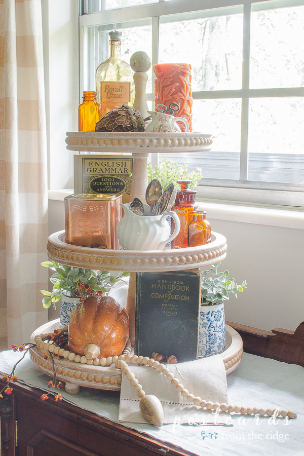 three tier wood tray decorated for fall