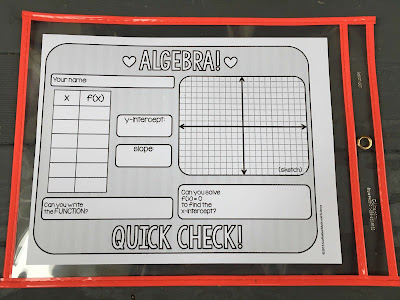 Algebra 1 quick check template