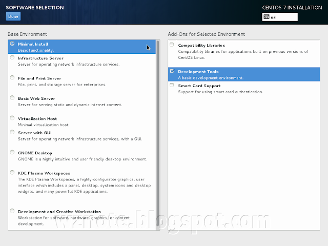 CentOS Installation Software Selection