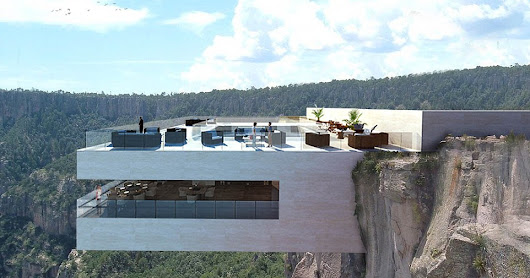 Cocktail bar hanging from a cliff. Would YOU dare visit this restaurant? - AutocaDesigner