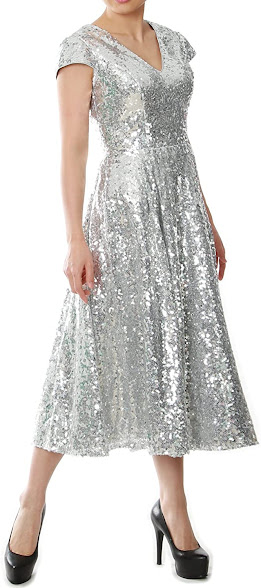 Tea Length Silver Mother of The Bride Dresses