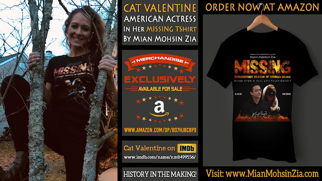 Catherine Valentine Parish, American Actress in her Branded MISSING TShirt by Mian Mohsin Zia