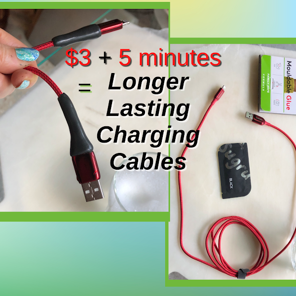 Apple Lightning to USB iPhone charging cables before and after reinforcing the strain relief with Sugru moldable rubber glue