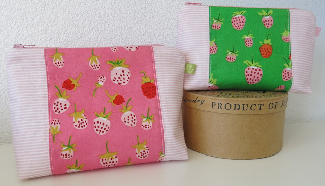 Zip pouches - Pattern from Michelle Patterns - Strawberry prints