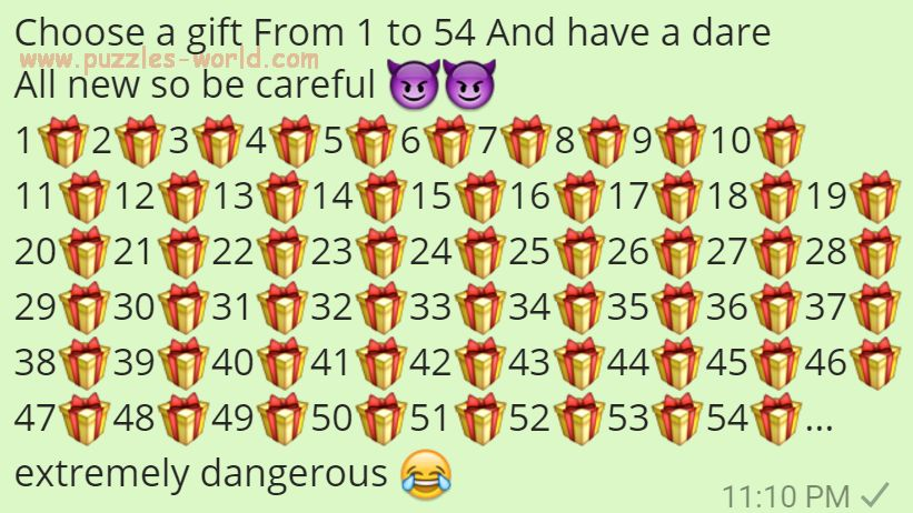 Choose a gift from 1 to 54 and have a dare Whatsapp Games