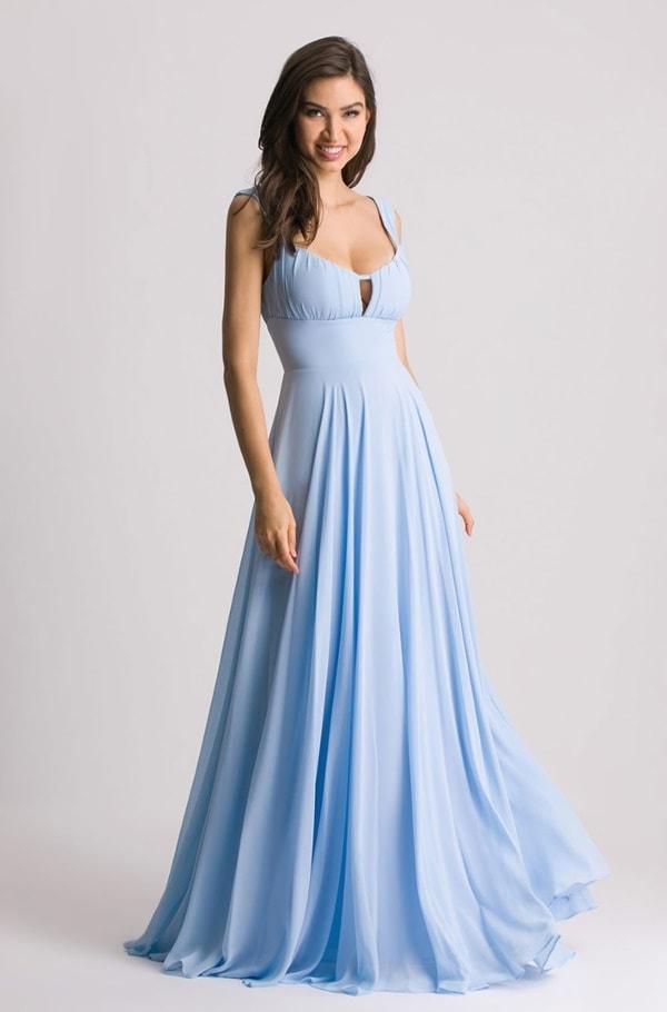 vestido longo azul serenity simples para madrinha de casamento