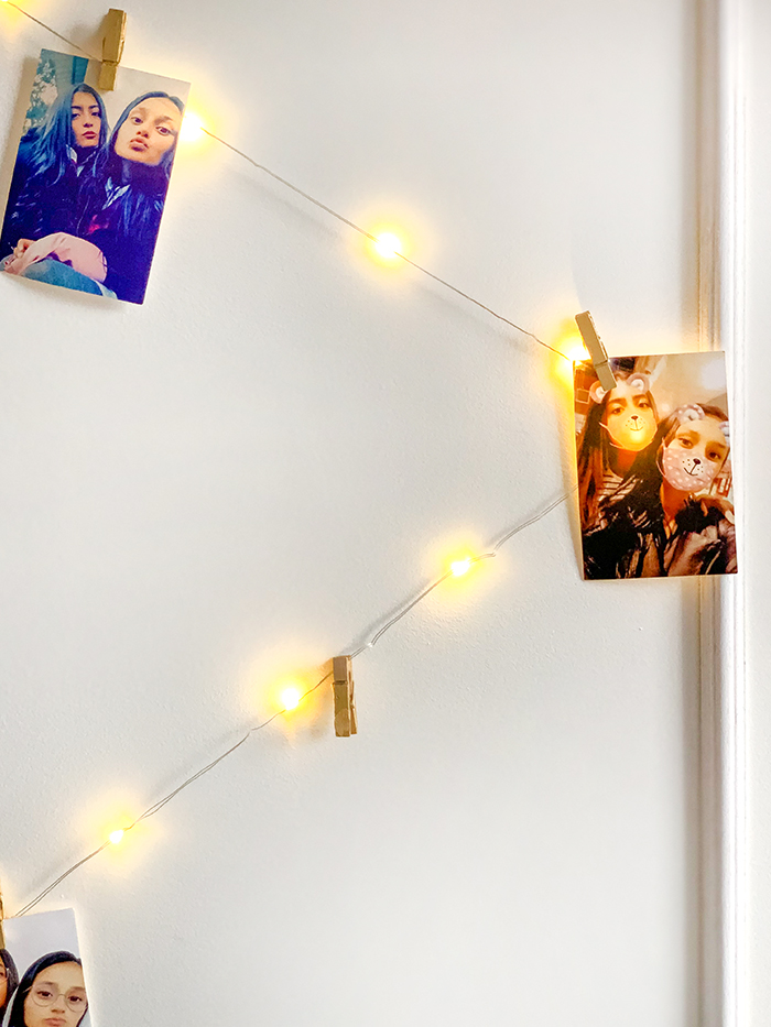 bedroom decor with string lights
