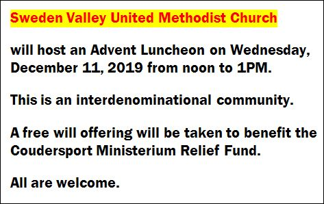 12-11 Advent Luncheon, Sweden Valley UMC