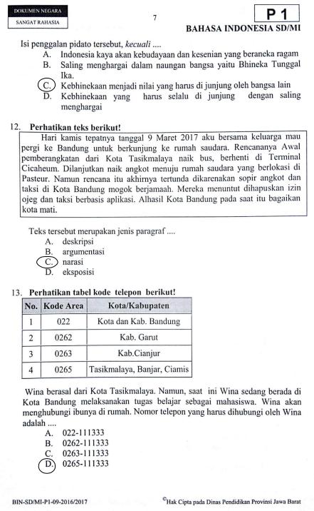 Latihan Soal Dan Jawaban Usbn Bahasa Indonesia Sd 2019