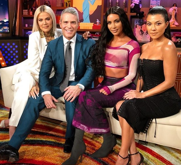 Khloe, Kim & Koutney Kardashian with Andy Cohen during 'Watch Happens Live with Andy Cohen'