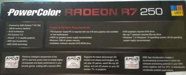 spesifikasi box VGA Powercolor Radeon R7 250 2GB DDR5 128Bit