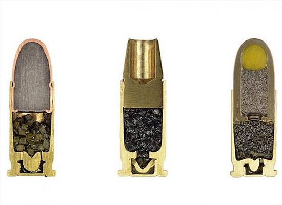 Objetos cortados pela metade - Balas de revolver