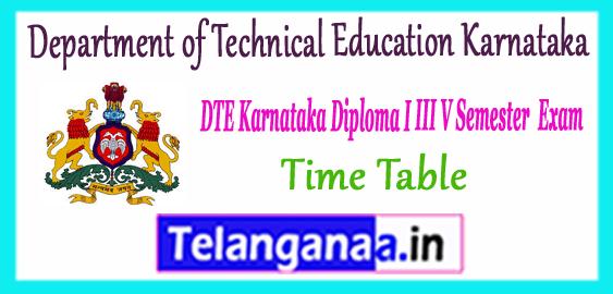 Karnataka Diploma 1st 3rd 5th Semester Time Table 2017