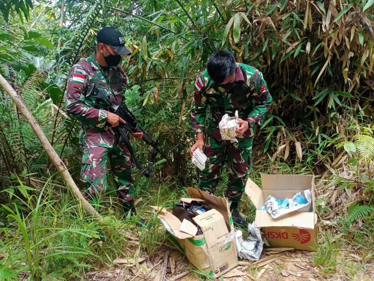Satgas Pamtas RI-Malaysia Amankan Dus Berisi Puluhan Jenis Obat-Obatan Ilegal