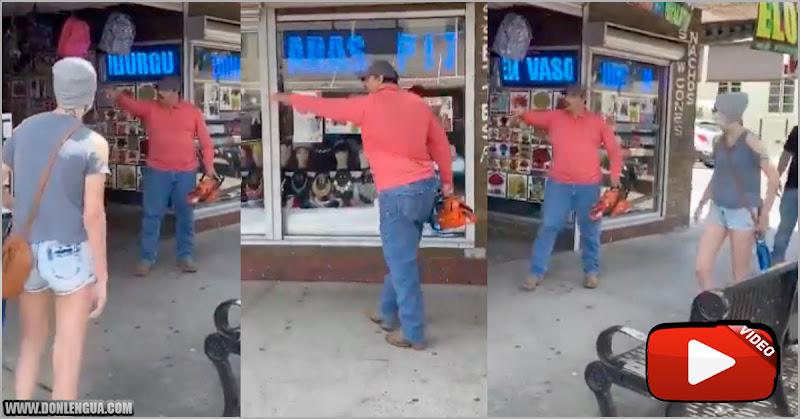 Hombre con una motosierra evitó saqueos en Texas al amenazar a manifestantes de izquierda