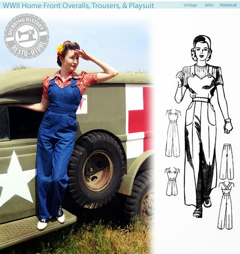 1940s reproduction war time overalls and jeans for women sewing pattern